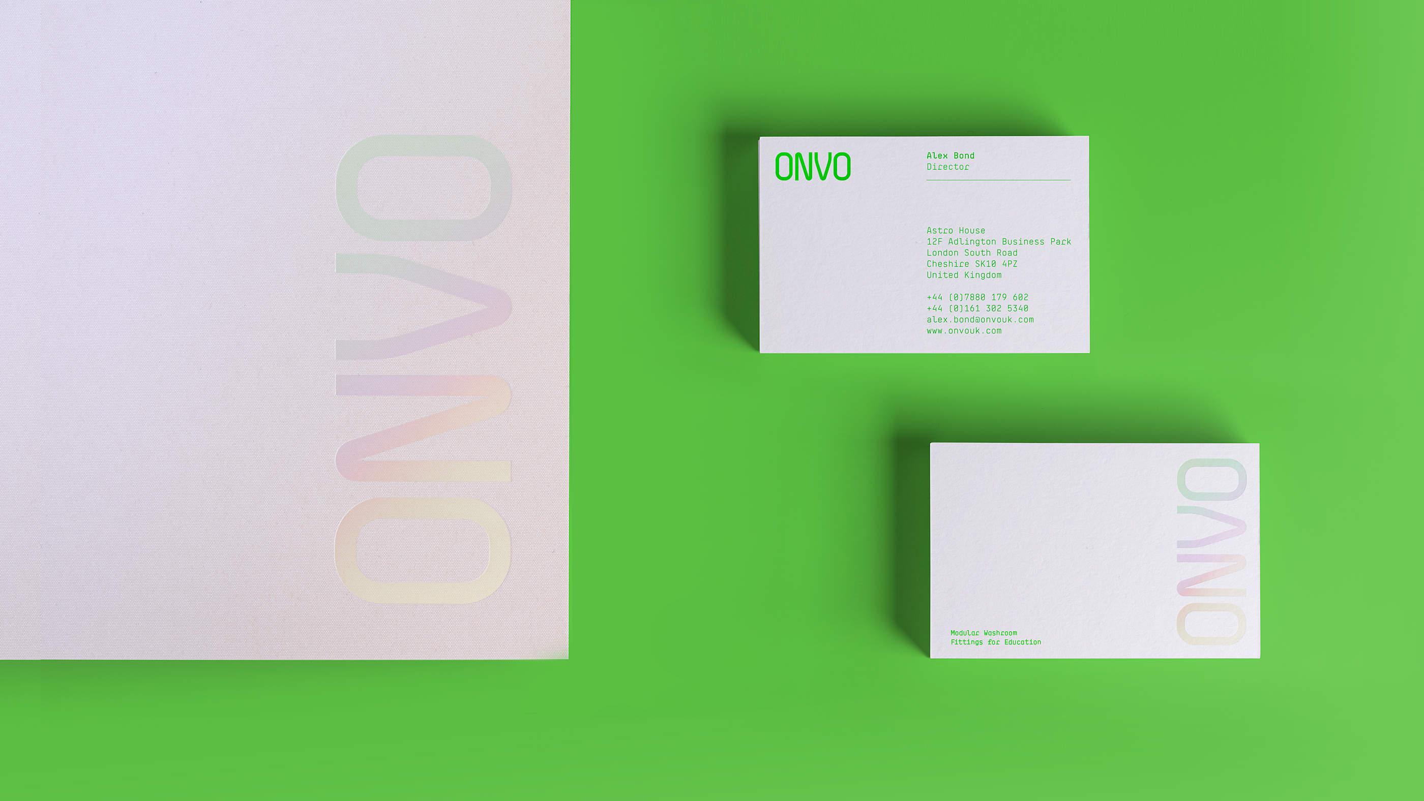 ONVO Washroom fittings branding - brochure cover and stationery